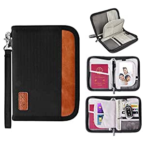 Fvstar Wristlet Travel Passport Wallet RFID Blocking Credit Card Case Document Tickets Organizer Family Passport Holder with Zipper, Black (Black) - FS0048-BK