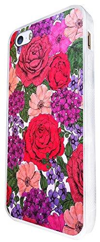 928 - Colourful Floral Shabby Chic Roses Fleurs Design iphone SE - 2016 Coque Fashion Trend Case Coque Protection Cover plastique et métal - Blanc
