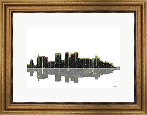 (Birmingham Alabama Skyline BW 1 by Marlene Watson Framed Art Print Wall Picture, Wide Gold Frame, 23 x 18 inches)