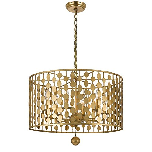 Crystorama 546-GA Transitional Six Light Chandelier from Layla collection in Gold, Champ, Gld Leaffinish,