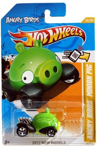 ANGRY BIRDS MINION GREEN PIG Hot Wheels 2012 New Models Series #35/50 Green Piggy 1:64 Scale Collectible Die Cast -