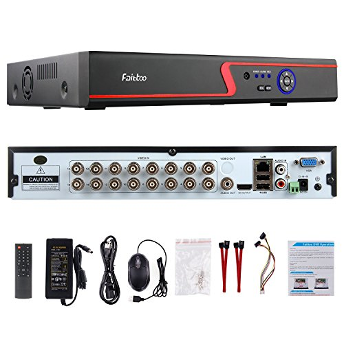 Faittoo H.264 16CH 1080N AHD DVR Hybrid AHD+HVR+TVI+CVI+NVR 5-in-1 Security System Realtime Standalone CCTV Surveillance Onvif P2P Quick QR Code Scan w/ Easy Remote View HDMI/VGA Output (NO HDD) (16 Channel Audio Monitor)