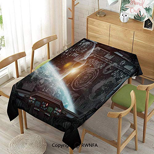 Homenon Decorative Rectangular Table Cloth,Control Panel of Cockpit Screen in Spaceflight Androids World Stardust,Waterproof Stain-Resistant,Orange Gray,55
