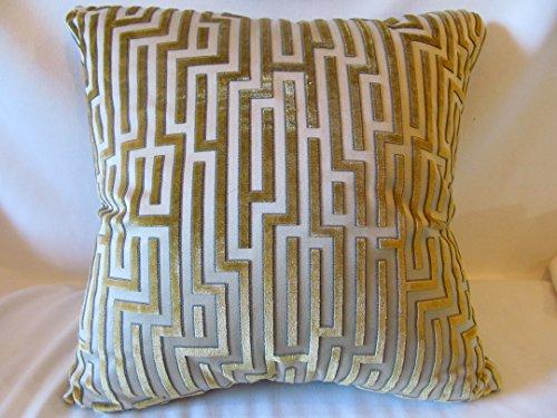 (Gold on gold geometric cut velvet pillow.)