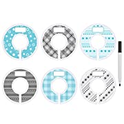 Blulu Clothing Rack Size Dividers Round Hanger Dividers Blue and Gray with Marker Pen, Dot, Star and Grid (6 Pieces)