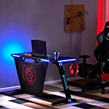 Best Gamer Desks - Merax Gaming Desk LED Lights Z-Shaped Ergonomic Computer Review