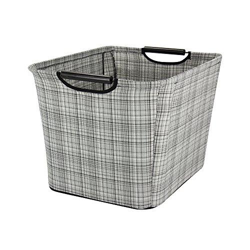 - Household Essentials Tapered Storage Bin with Wood Handles, Medium, Gray Plaid