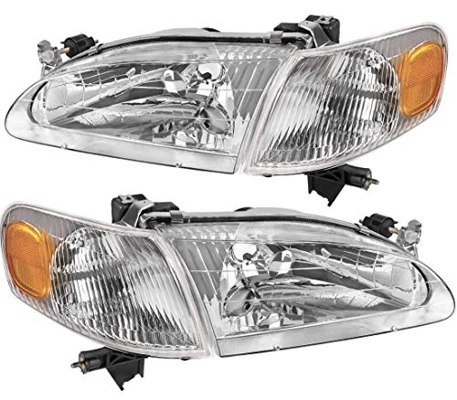 ANR Toyota Corolla 1998-2000 Headlights Headlamps Replacement includes Front Signal Lights - Driver + Passenger Side