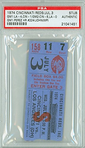 Cincinnati Reds Ticket - 1974 Cincinnati Reds Ticket Stub vs Los Angeles Dodgers Tony Perez Career HR #224 - July 3, 1974 PSA/DNA Authentic Jul 3 1974 [Very Good, lt creasing]