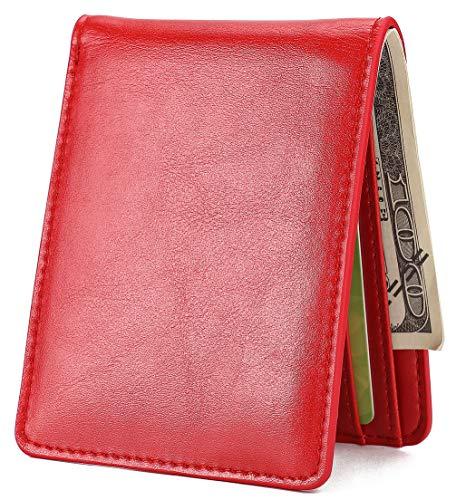 (Mens Slim Front Pocket Wallet ID Window Card Case with RFID Blocking -)