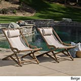 Nikki Outdoor Wood Sling Chair (Set of 2) by Christopher Knight Home Beige