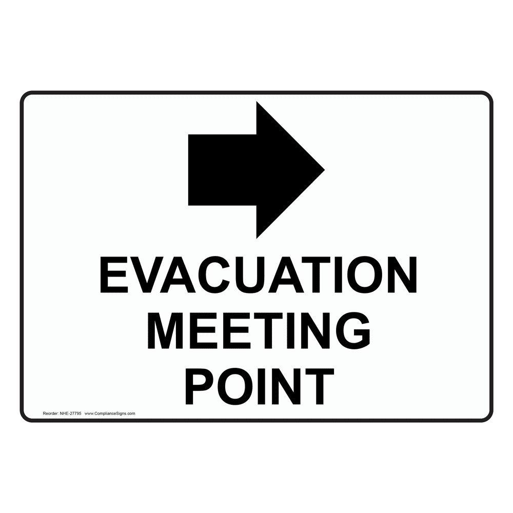 Compliancesigns Aluminum Evacuation Meeting Point Right Arrow