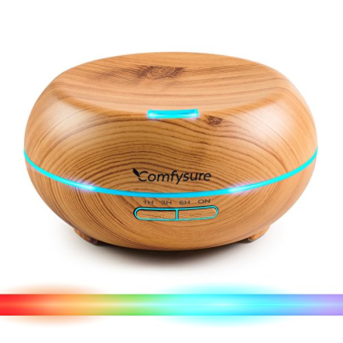 200ml Essential Oil Diffuser - Aromatherapy Ultrasonic Cool Mist Humidifier - Elegant Wood Design With LED Lights - Timers and Auto Shut Off - By ComfySure