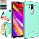 LG G7 Case,LG G7 ThinQ Case,NiuBox Armor [Card Slot Wallet] [Kickstand] Full Body Shock Absorption Protective Phone Case Cover for LG G7 (2018 Version) Turquoise