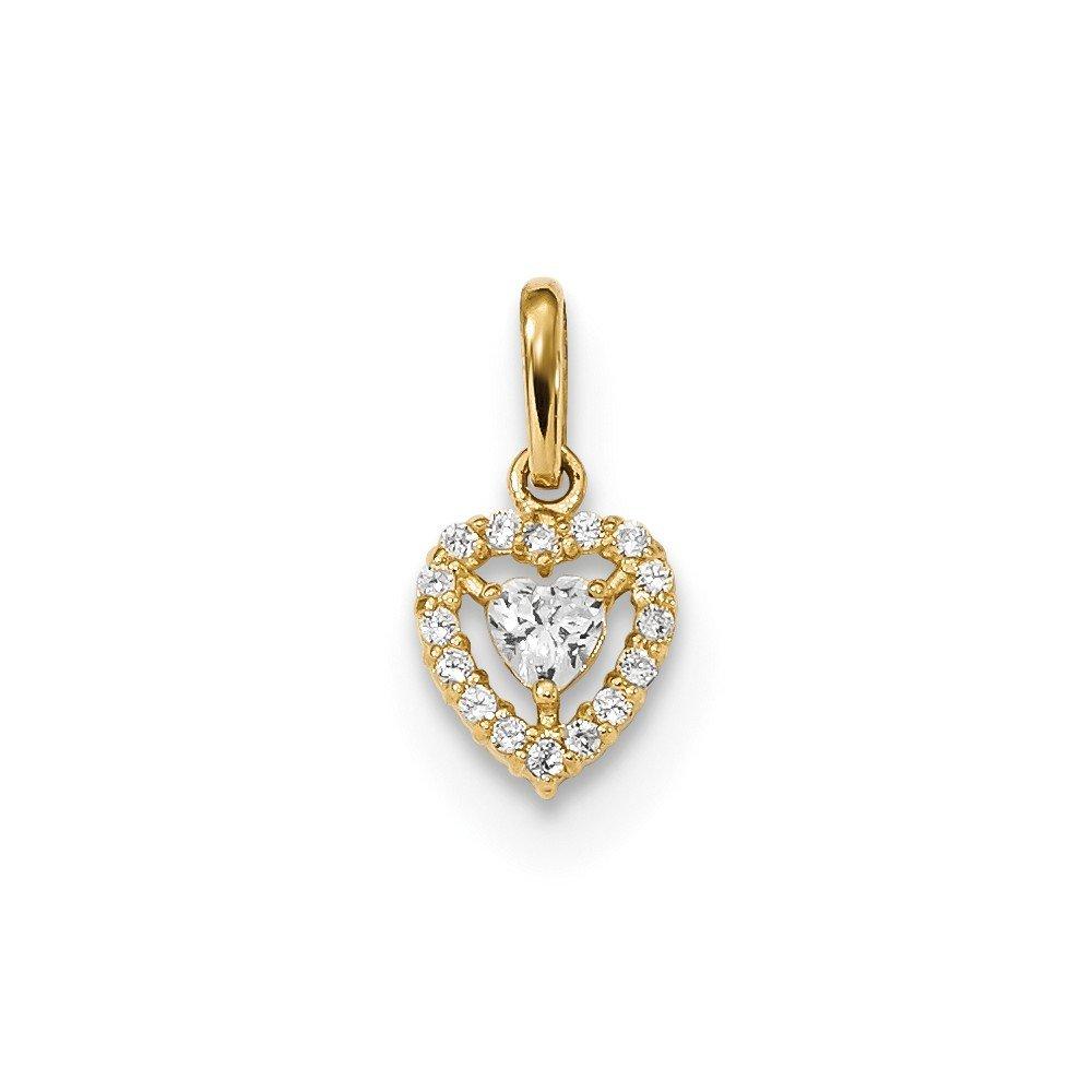 14K Yellow Gold Childrens CZ Heart Pendant