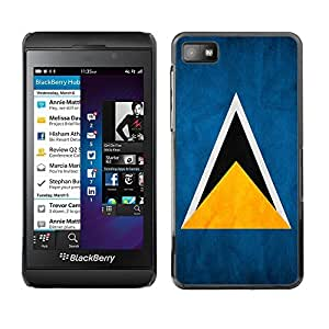 LJF phone case Shell-Star ( National Flag Series-Saint Lucia ) Snap On Hard Protective Case For BackBerry Z10