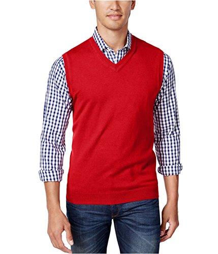 Club Room Mens Solid V Neck Sweater Vest Red L