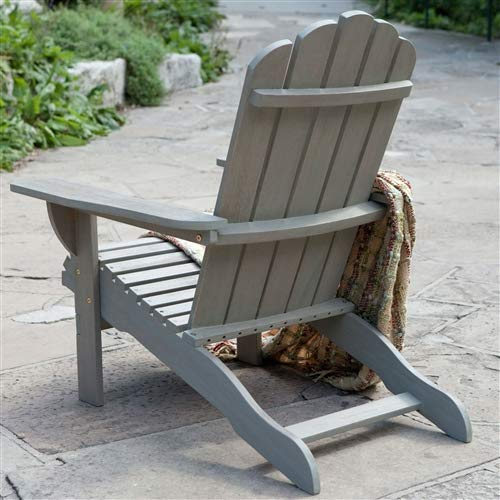 Weather Resistant Eco-Friendly Eucalyptus Wood Adirondack Chair in Driftwood Color Adirondack Chair W Poly Wood Deluxe CHOOSEandBUY -