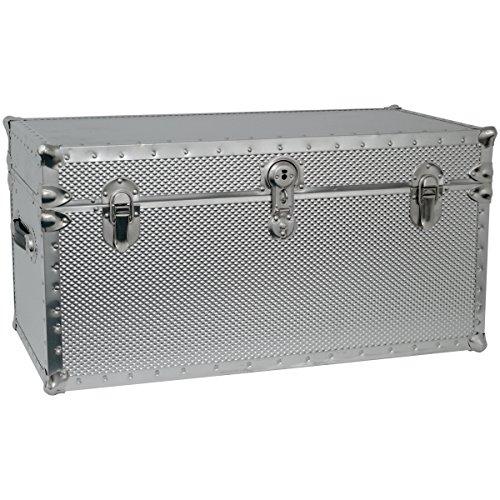 Seward Trunk Embossed Steel Storage Footlocker Trunk, Silver, 31-inch (SWD5934-41)