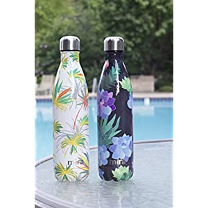 MIRA Vacuum Insulated Travel Water Bottle | Leak-proof Double Walled Stainless Steel Cola Shape Sports Water Bottle | No Sweating, Keeps Your Drink Hot & Cold | 25 Oz (750 ml) (White Palm)