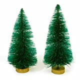 Package of 12 Holiday Miniature Sisal Christmas Trees for Displays, Crafts, and Designs