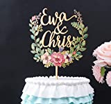 Wood floral wreath cake topper, personalized wedding cake topper,...