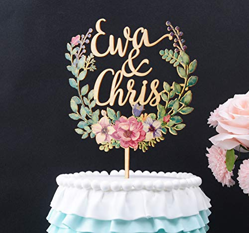 Wood floral wreath cake topper, personalized wedding cake topper, custom wedding cake topper, wooden cake topper #160, -