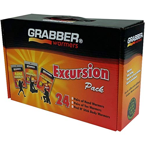 Grabber Warmers Grabber Excursion Multi-Pack Warmer Box, 8 Pair Hand, 8 Pair Toe, 8 Peel N' Stick Body Warmers, 24-Count - Grabber Boot
