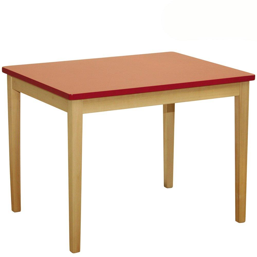 0618 Kindertisch aus Massivholz und MDF • Kindermöbel Tisch Natur Rot Kinder Zimmer Holztisch