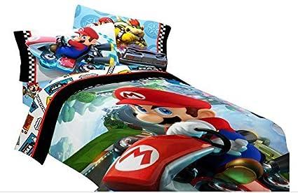 Edredon De Mario Bros.Super Mario Bros Completo Edredon Y Hojas 5 Piezas Ninos Beddin G