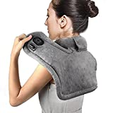 Heating Neck and Shoulder Massager Wrap Pad for Pain and Tension Relief, Hot Therapy Heating Neck and Shoulder Massager Wrap with Aapter Grey