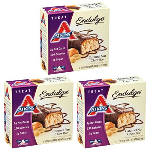 Atkins Endulge Treat, Caramel Nut Chew Bar, 1.2 Ounce, 5 Count (Pack of 3)