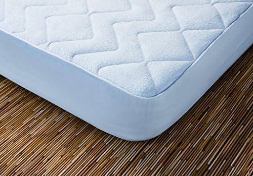 Protector de colchón acolchado. 100% algodón. Reversible. (Blanco ...