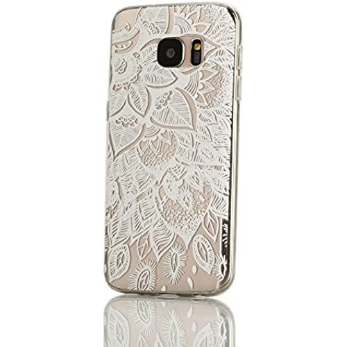 Galaxy S7 Case, Weline White Lotus Flower Pattern Ultra Thin Crystal Clear Rubber Gel Scratch Resistant TPU Soft Silicone Bumper Shell with Shockproof Protector Sales
