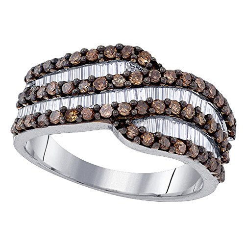 Sonia Jewels 925 Sterling Silver Chocolate Brown White Round Baguette Diamond Fashion Ring – Channel Setting 1.03 cttw.