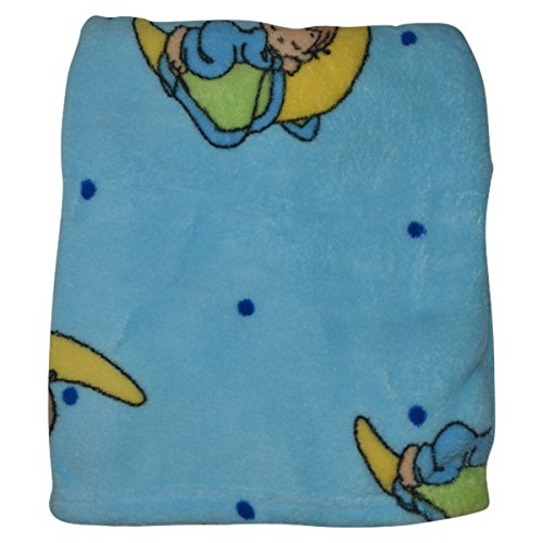 Precious Moments Super Soft and Warm Blue Baby Blanket Baby on Moon, 30 x 40