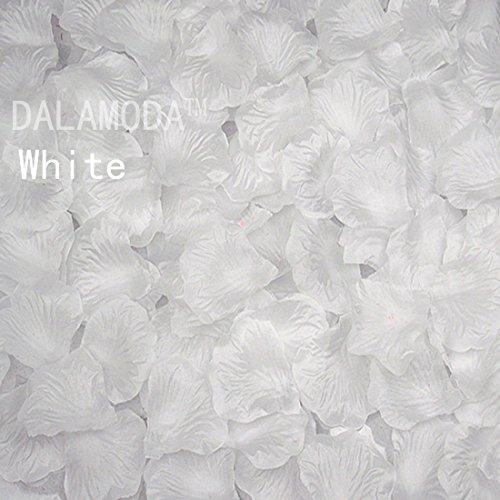 DALAMODA 1000pcs Silk Rose Petals Bouquet Artificial Flower Wedding Party Aisle Decor Tabl Scatters Confett (White)