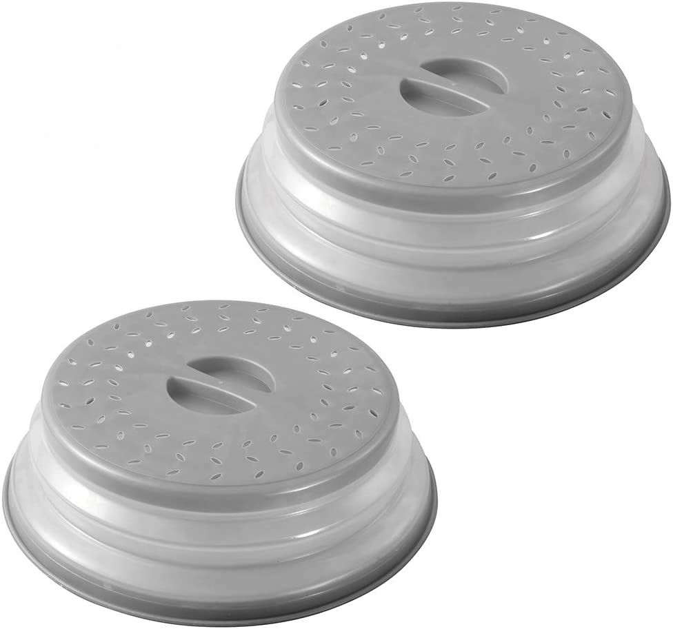 Collapsible Microwave Splatter Cover for Food, Vented Collapsible Food Plates Cover, Easy to Shake Hands, Drainer Basket, BPA-Free Silicone & Plastic, 2Pack (Grey)
