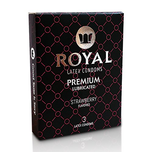 Royal Premium Strawberry Flavored and Scented Condoms - Ultra Thin, Lubricated, High Quality Non-Toxic Latex and Odor Free for Long Lasting Pleasure and Performance, 3 Count