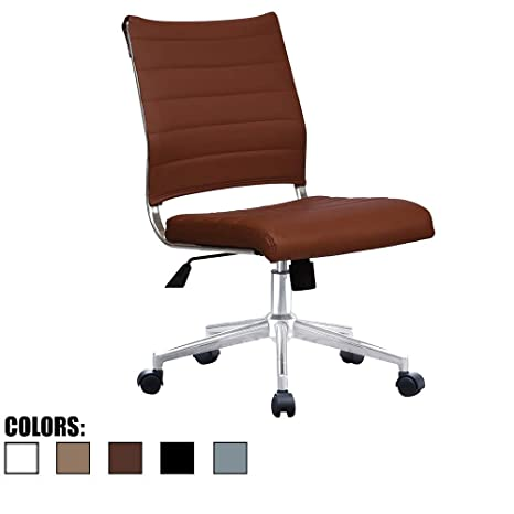 Phenomenal 2Xhome Brown Modern Ergonomic Executive Mid Back Pu Leather No Arms Rest Tilt Adjustable Height Wheels Cushion Lumbar Support Swivel Office Chair Squirreltailoven Fun Painted Chair Ideas Images Squirreltailovenorg