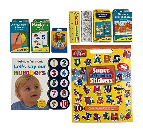 Stickers Abc 123 - Numbers Board Book, Ages 2-4, with 4 Pack of Math Flash Cards Bundle - Includes ABC/123 Stickers, Bookmarks and Crayons.