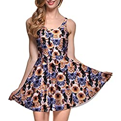 Gril's Cute Kitty Cat Printed Pleated Knee-length Stretchy Skater Dress L