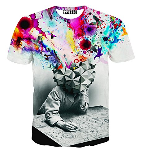 FaPlus Men s Fashion 3D Creative Graffiti Print Hip Hop Style T-Shirts L 578e627d32ae