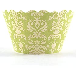 Bella Couture Lu Lu Damask Cupcake Wrappers, Chartreuse/Yellow