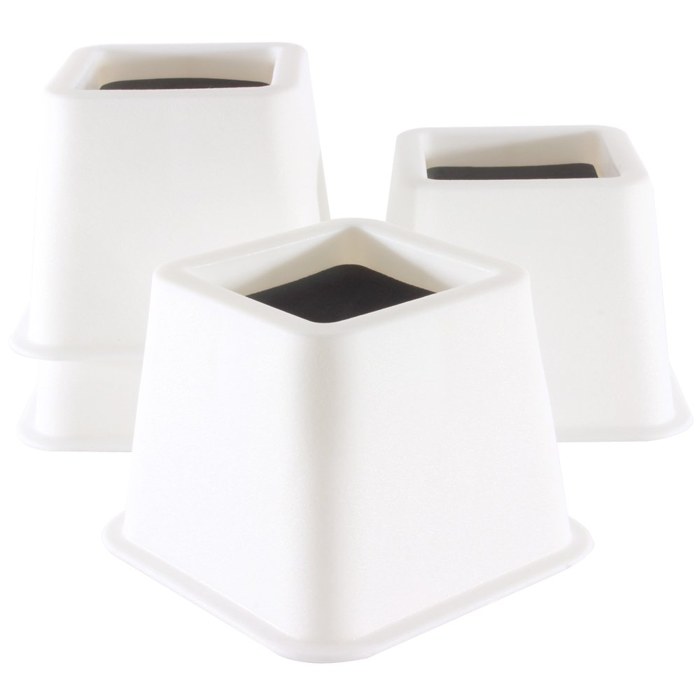 alice Structures 3.75 Inch Heavy-Duty Bed Risers, Aid for raising bed, chair etc (White)