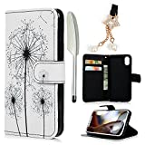 iPhone Xs 5.8 Case, iPhone X Case, Wallet Case Painted PU Leather Magnetic Clasp TPU Inner Protective Holster Case Lanyard Card Slots Cover for iPhone Xs 5.8/iPhone X, Dandelion