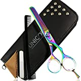 Unicorn Plus Pro Pet Grooming Scissors Quality Dog/Cat Fur cutting Scissors Professional Barber Scissors 5.5'' Inch/14cm (Multicolor) Sharp Teeth Thinning/Trimming Hair Scissors @Best Price