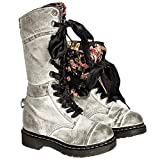 Women's Studded Vintage Lace-Up Martin Shoes Reversible Cross-tied Mid-Calf Tactical Boots