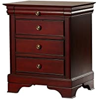 Sturdy 3 Drawer Nightstand, Dovetail Drawers, Solid Wood Construction, Bracket Feet, Smooth Edges, Classic Molding, Traditional Style, Mahogany Finish