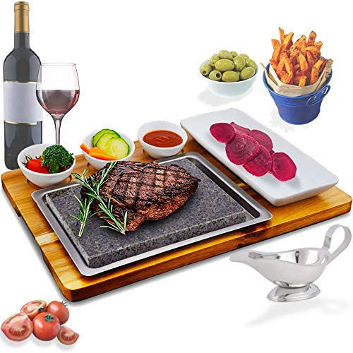 Steak Stone Cooking Set by La Mongoose. Premium Basalt Lava Rock For Hot and Cold Hibachi Grilling. Includes 3 White Ceramic Dipping Dish Bowls and 1 Plate Acacia Board Stainless Steel Tray Ideal Gift